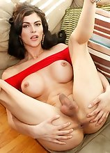 Superstar Domino Presley has a stunning body, big tits, an ass to die for and a sexy hard cock! Watch this beautiful transgirl jacking off and cumming