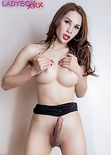 Ladyboy Natty enjoys being alone and have fun with herself. Now she decides to have fun, get naked and jerk off her cock!
